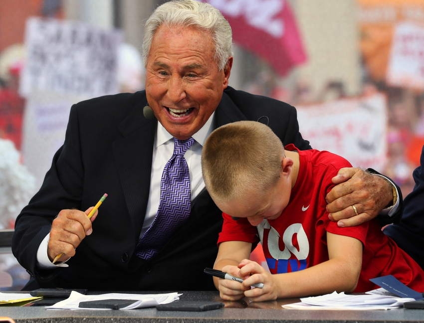 Espn personality lee corso during the live broadcast of espn college